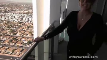 Sandra Otterson - Vegas Balcony Blowjob